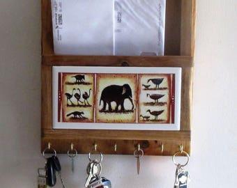Mail holder, key ring holder, elephant, mail organizer, key ring rack, key organizer, decorative tile, wall art, mailbox, key ring, tile