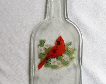 Red Cardinal, cardinal, bird, melted bottle, melted glass, slumped glass, slumped bottle, wine bottle, barware, snack dish, chip and dip