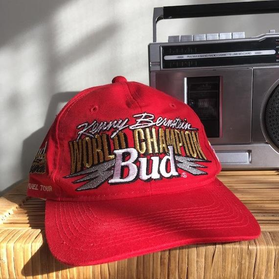 90s Budweiser NHRA 1996 Red Snapback Hat