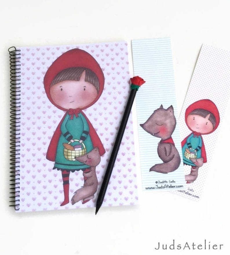 princess gift Red Riding Hood and the Wolf notebook of Red Riding Hood gift for princess princess world Notebook A5 cute princess