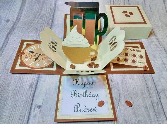 Coffee Exploding Birthday Box Card Lover