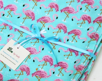 Baby Blanket - Large Baby Blanket - Baby Blanket Handmade - Blue Green Flamingo Flannel Baby Blankets
