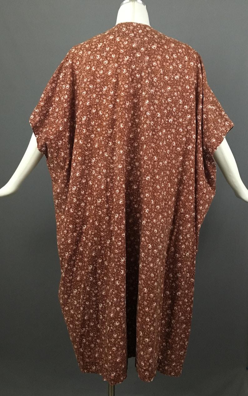 cb45a05ec0 70s hippie kaftan caftan floral print cotton dress 1970s brown | Etsy