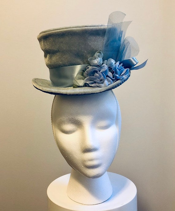 Light Blue Velvet Mini Top Hat Burlesque Hat