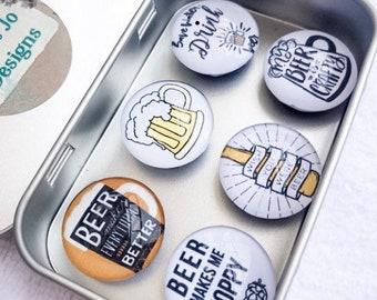 Set of Six Beer Glass Magnets   Beer Magnets   Beer Lover Gift   Coworker Work Gift Exchange   Man Cave Fridge Magnets   Stocking Stuffers