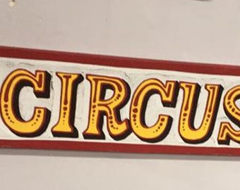 Retro Wooden Circus Sign from Reclaimed Wood Handpainted