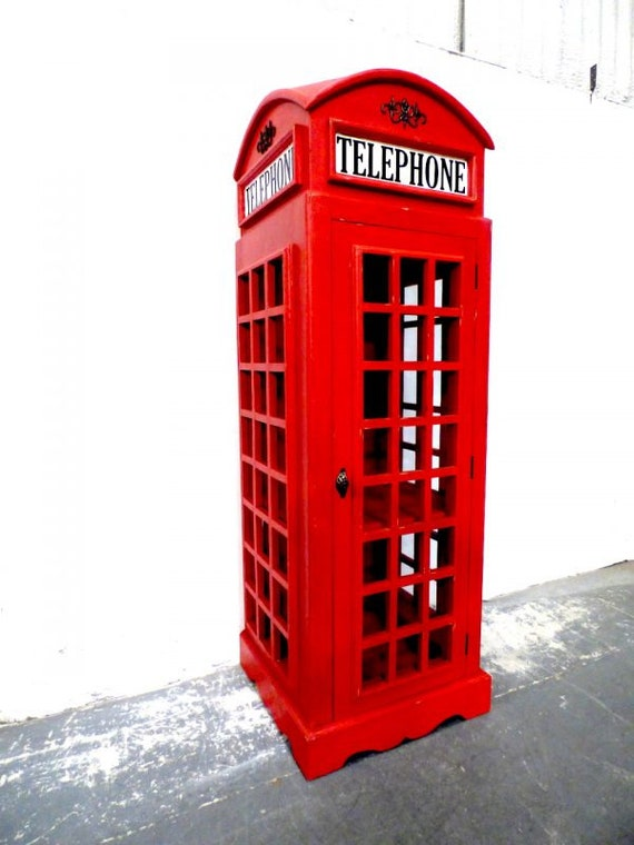 Hand Made Telephone Box Cabinet With Glazed Sides Door Etsy