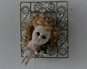 creepy doll in the frame horror doll Sale off