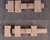 Loquet coulissant en bois de chêne massif pour portes ou portails. fabriqué à la main en france