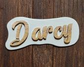 Custom OAK Wood Signs mounted on backing board - Handmade in France