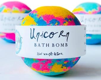 Unicorn Bath Bomb with Rainbow Colors for Kids - Birthday Party Favors - Bubble Bath Fizzy - Mini Bath Bombs - Luxury Self care Gift