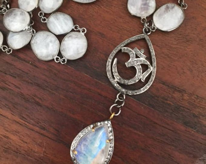 Featured listing image: Diamond pave Om with a moonstone and white sapphire pave pendant.   Both strung on moonstone bezel set chain.  Serenity now.