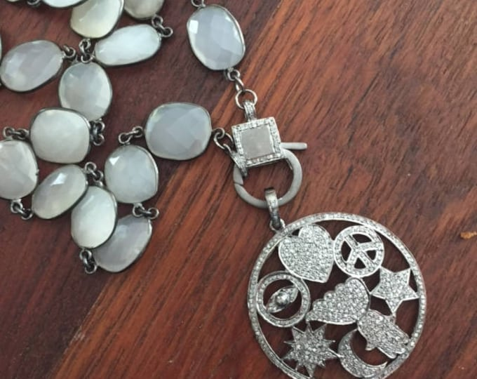Featured listing image: Pave diamond pendant and clasp on bezel moonstone chain - the pendant depicts a heart, peace sign, star, wing, hamsa, sun, moon, evil eye.