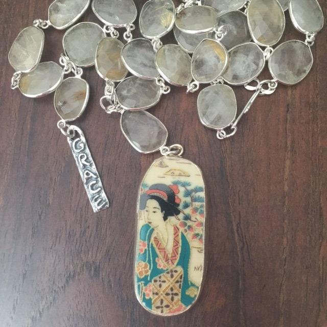 Vintage Handpainted Art Pottery Shard Necklace Pendant
