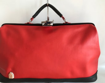 Purse doctor's bag red with black