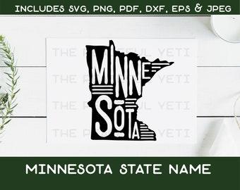 Minnesota State SVG - State Typography Digital Download - Instant Download jpeg png svg pdf eps dxf