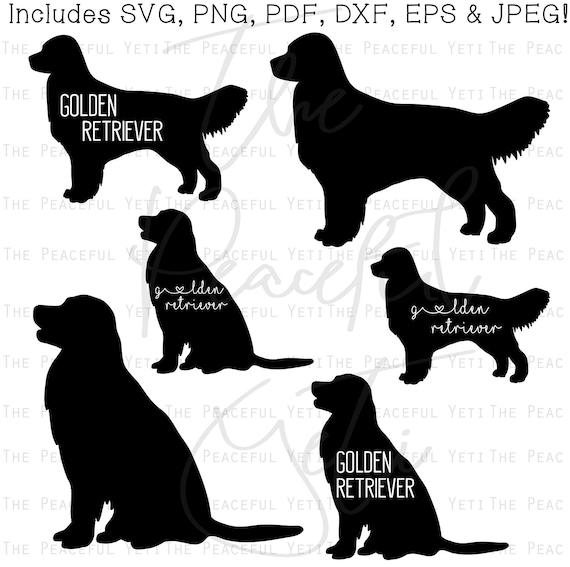Golden Retriever Dog Svg Golden Retriever Silhouette With Etsy