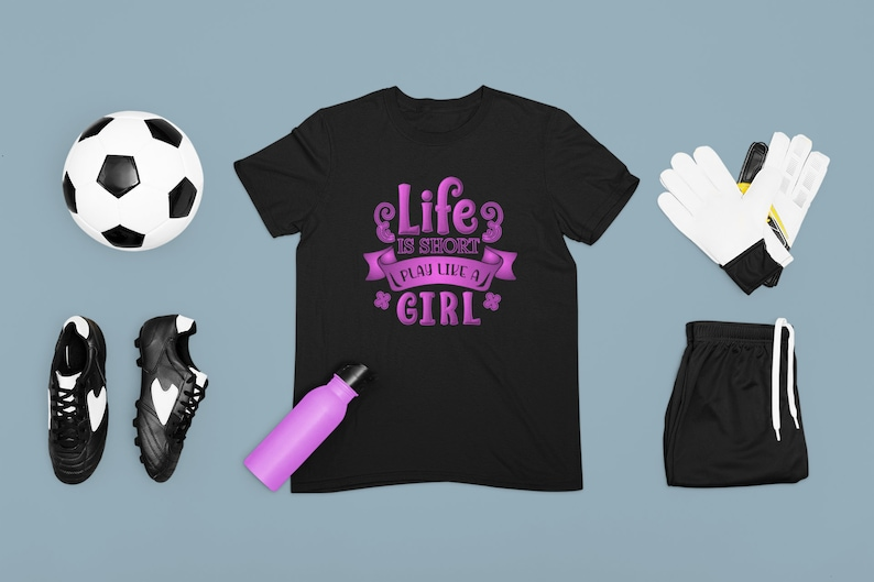 Life Is Short Play Like A Girl ~ Girl Power T-Shirt ~ Motivational Youth Kids Tshirt ~ Sports T-shirt ~ Cute Graphic Tee Cotton