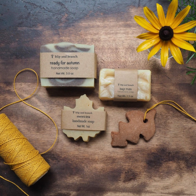 fall soaps gift set with three homemade soaps and a cinnamon image 0