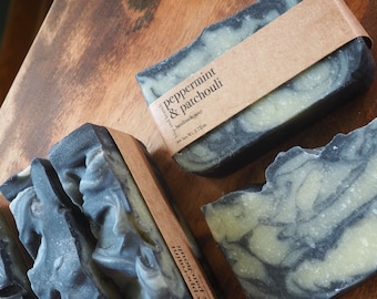 peppermint and patchouli handmade soap with activated charcoal, bentonite clay and organic mango butter