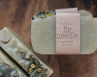 fir needle handmade soap with citrus, fir needle, benzoin resin, cinnamon and clove leaf, made with organic base ingredients