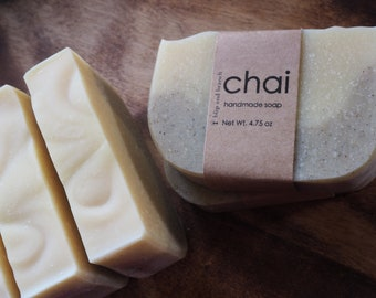 chai handmade soap with a light, warming and spicy blend of cardamom and ginger essential oils with organic fair trade cocoa & shea butters