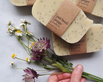 patchouli poppy handmade soap with organic patchouli essential oil with notes of lavender and orange