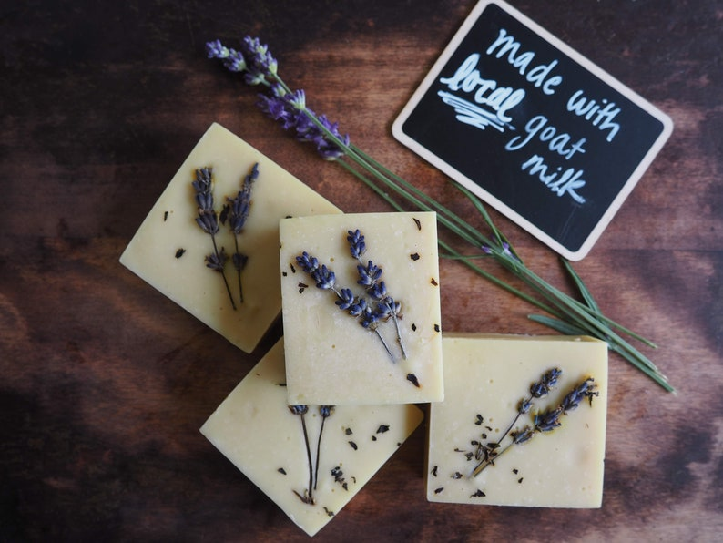 peppermint and lavender handmade goat's milk soap image 0