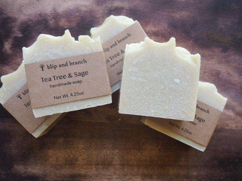 tea tree and sage handmade soap with oatstraw powder image 0
