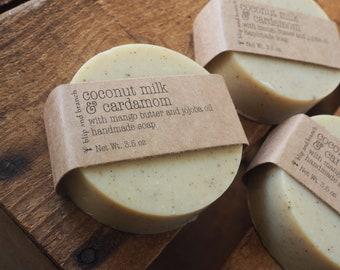 coconut milk & cardamom soap with organic mango butter, organic jojoba oil, organic cardamom, orange, patchouli and clove essential oils