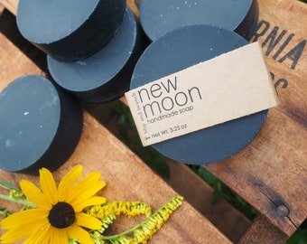 new moon handmade soap with activated charcoal