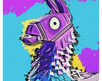 fortnite llama sandstone effect art unframed photo print and top quality hand varnished box framed canvas wall art print - fortnite llama pickaxe drawing