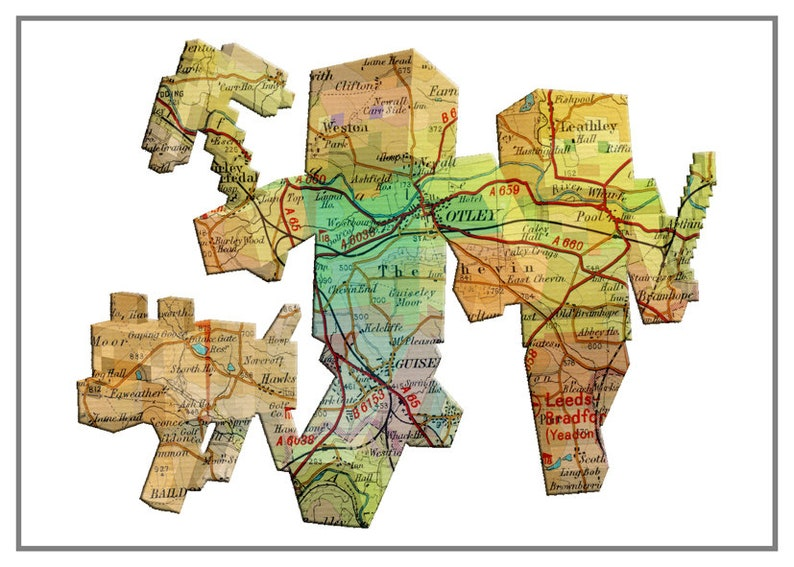 MINECRAFT MAP art - Otley map - can be personalised to any town map -  unframed photo print & hand varnished box framed canvas art print