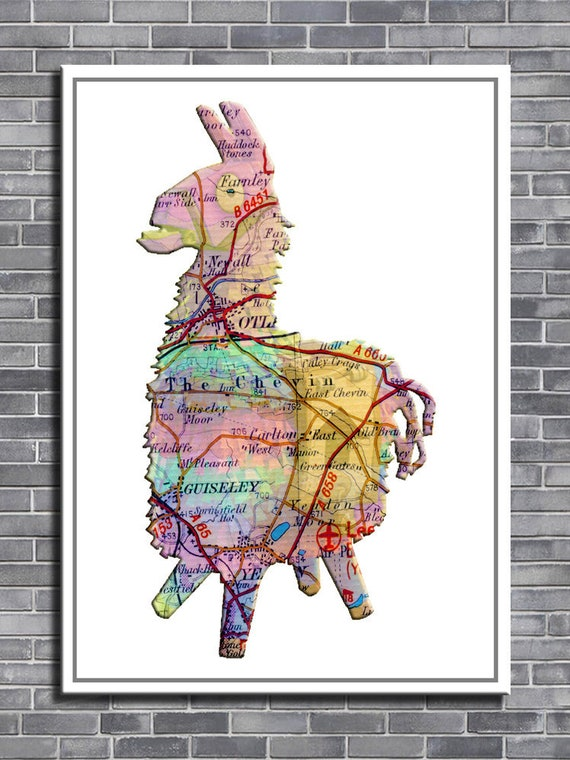 FORTNITE LLAMA Otley map can be personalised to any town map unframed photo print & hand varnished box framed canvas art print