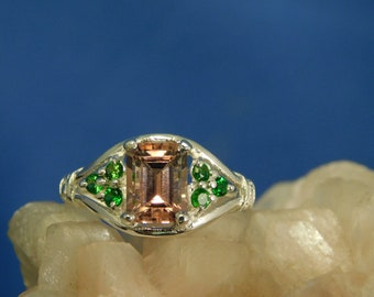 1.64 ct. Pink Emerald Cut Tourmaline and Chrome Diopside Ring Sterling Silver