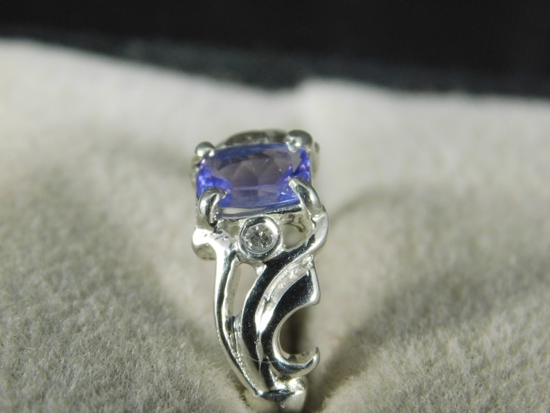 Cushion Tanzanite and White Topaz Ring Sterling Silver 0.61 ct