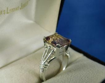 5.32 ct. Emerald Cut Ametrine Ring Sterling Silver