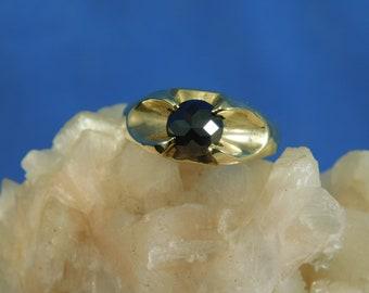 Custom 1.28 ct. Round Black Diamond Reverse Set Pyramid Point 14k Solid Yellow Gold
