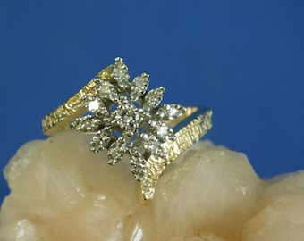 Vintage .22 ct. Lucky 13 Diamond Cluster Ring 14k Solid Yellow Gold Embossed Setting