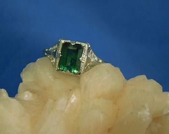 1.66 ct. Emerald Cut Tourmaline Ring Vintage Sterling Silver Filigree