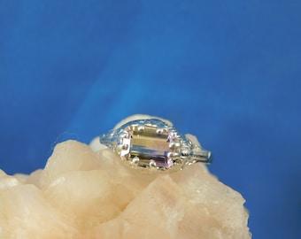 1.38 ct. Emerald Cut Ametrine Ring Art Deco Style Sterling Silver