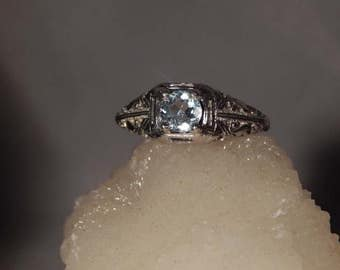 March Birthstone Vintage Style .53 Ct. Round Aquamarine Sterling Silver 1920's Style Filigree Ring