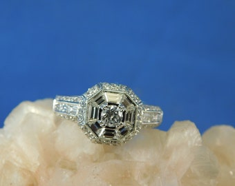 2.15 ct. Diamond Engagement Ring with Round and Baguette Diamonds 18k White Gold