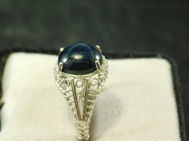 Huge 6.82 ct Distinct Oval Black Star Sapphire Ring Art Deco Style Sterling Silver
