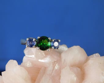 1.25 Ct. Chrome Diopside and Ceylon Sapphire Three Stone Ring Sterling Silver
