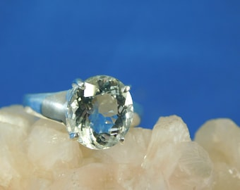 4.31 ct. Oval Aquamarine Ring High Polished Sterling Silver Setting