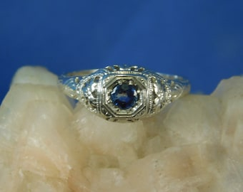 0.27 ct. Round Blue Sapphire 1920's Style Filigree Ring Sterling Silver