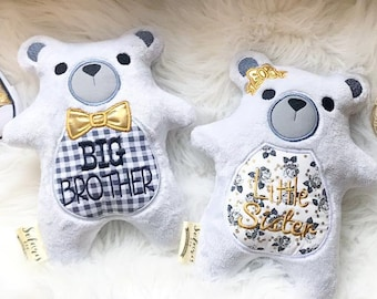 Panda Bear Stuffed,Plush  Personalized Monogrammed,Stuffed Animal Brother,Sister Sibling