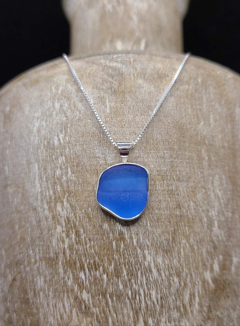 Sterling Silver Cornflower Blue Ridged Puerto Rico Seaglass Bezel Necklace Free Shipping! #66
