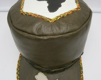 Large to XXL Rasta crown hat in bottle green leather with Africa and lion